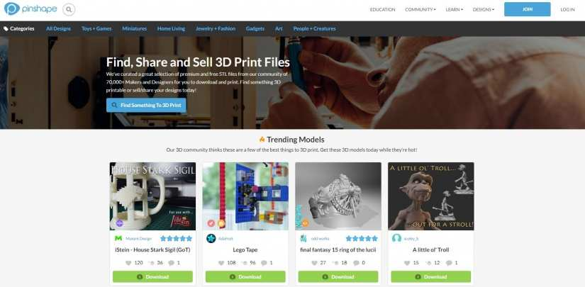 Best Websites for 3D Printing Models: Best Sites for 3D Printer Files - pinshape
