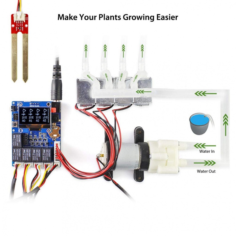 elecrow smart plant watering system using arduino uno - piping