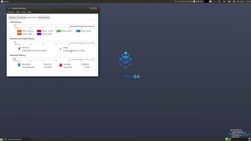 ubuntu mate rockpro64 system monitor