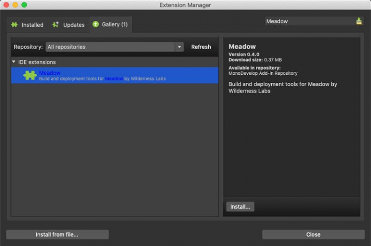 Installing Meadow extension in Visual Studio for Mac