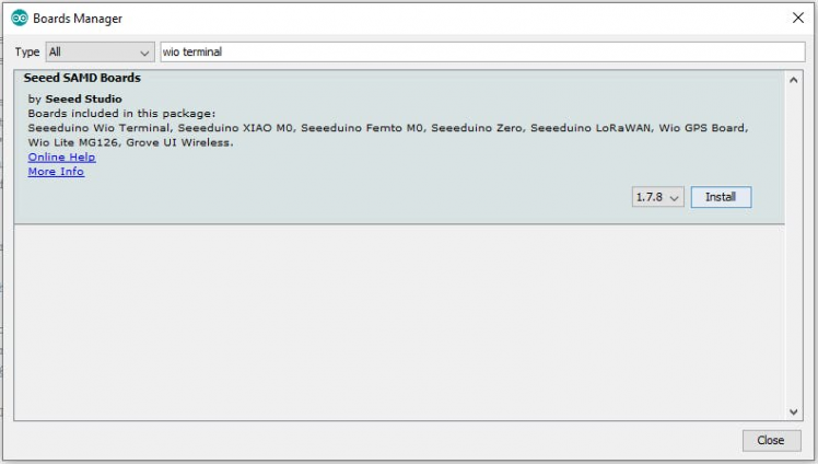 Installing Wio Terminal Board Manager