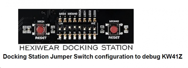 Set the jumper switches of the Docking station to 00111000 to program or debug the Wireless/KW41Z controller.