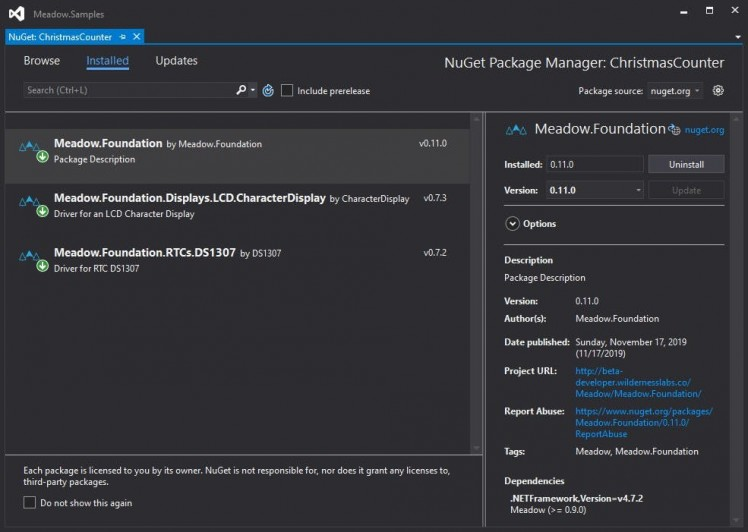 Adding CharacterDisplay and DS1307 NuGet packages