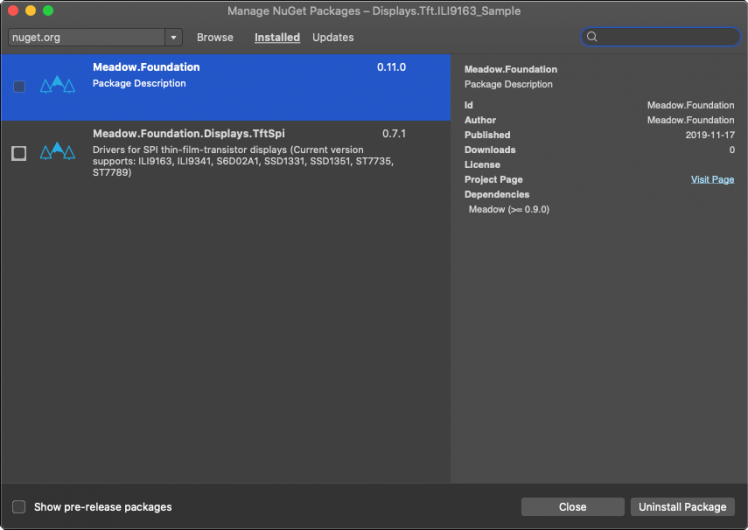 Adding Meadow.Foundation.Displays.TftSpi NuGet package
