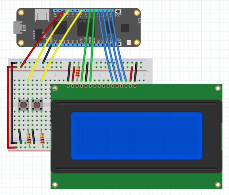 Fritzing Diagram for Meadow Clock project