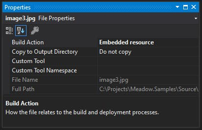 Set Build Action to Embedded Resource in the properties panel for all image assets