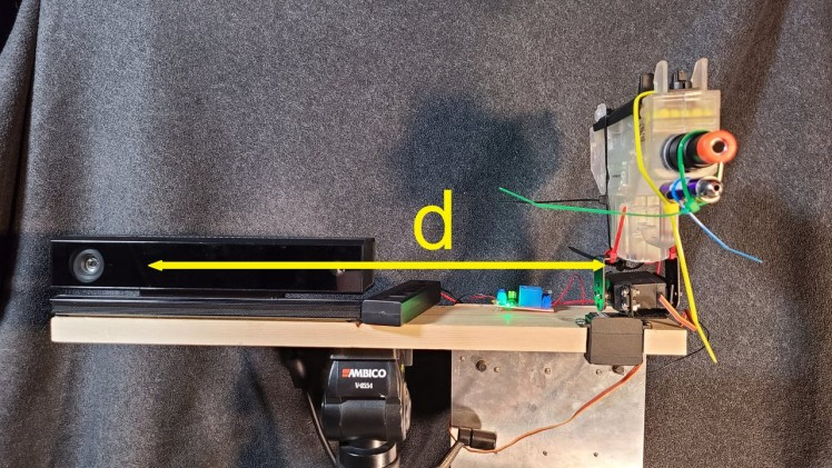 Mounted, with measurement for trig calculation shown.