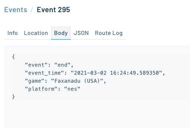 Game data contained in an event payload