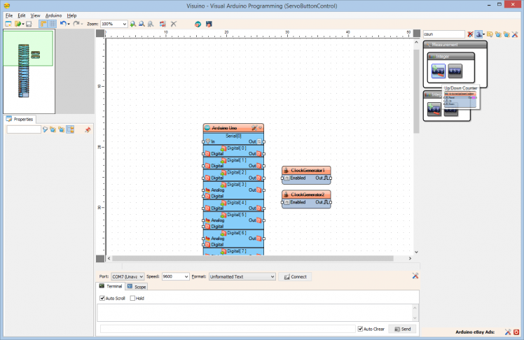 Arduino And Visuino: Control Servo With Buttons
