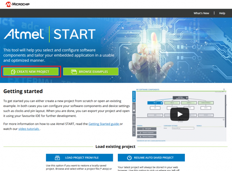 Create new project using Atmel Start