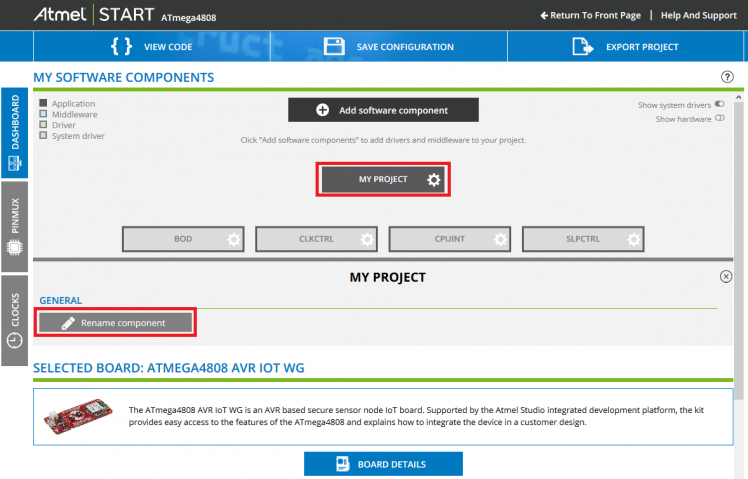 rename the Atmel Start Project for AVR iot WG