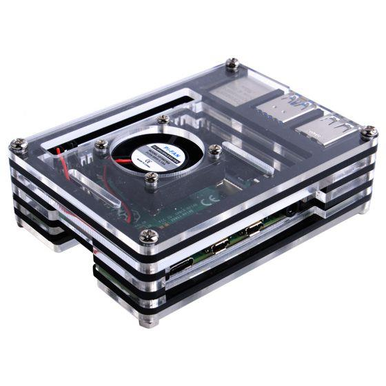 Raspberry Pi 9 Layers Acrylic Case With Fan (support Pi 4)